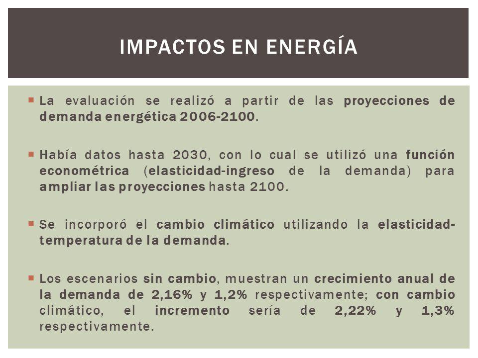 La evaluación se realizó a partir de las proyecciones de demanda energética 2006-2100. Había datos hasta 2030, con lo cual se utilizó una función econ