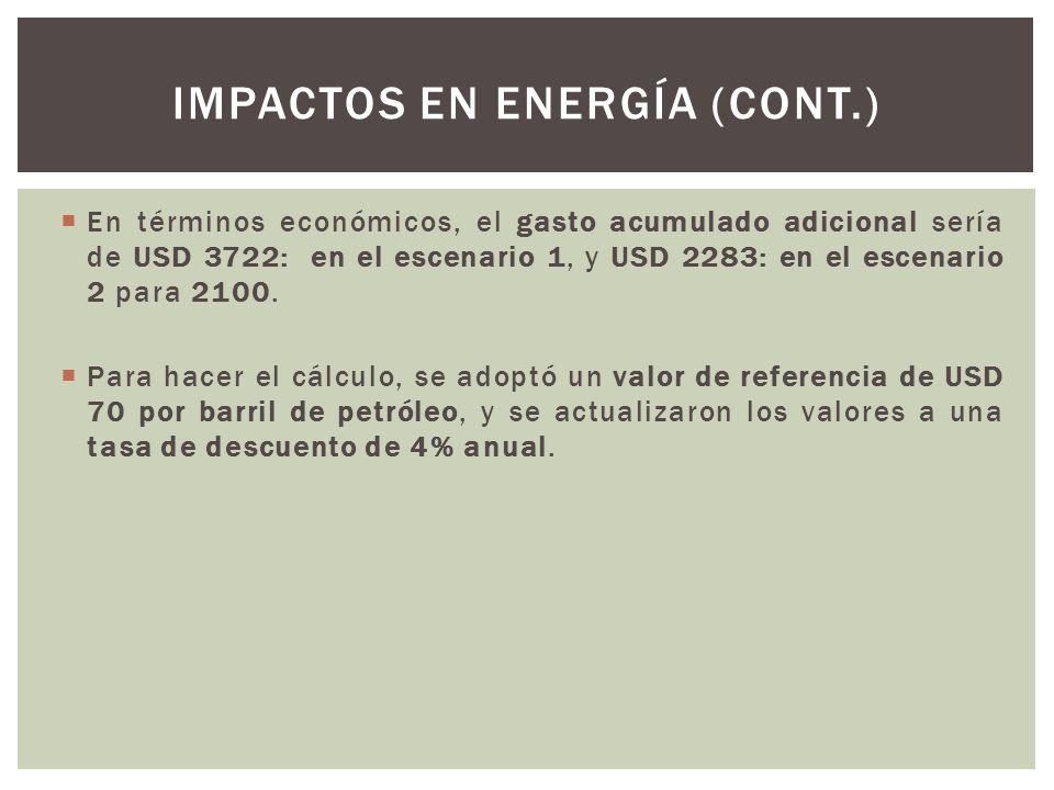 En términos económicos, el gasto acumulado adicional sería de USD 3722: en el escenario 1, y USD 2283: en el escenario 2 para 2100. Para hacer el cálc