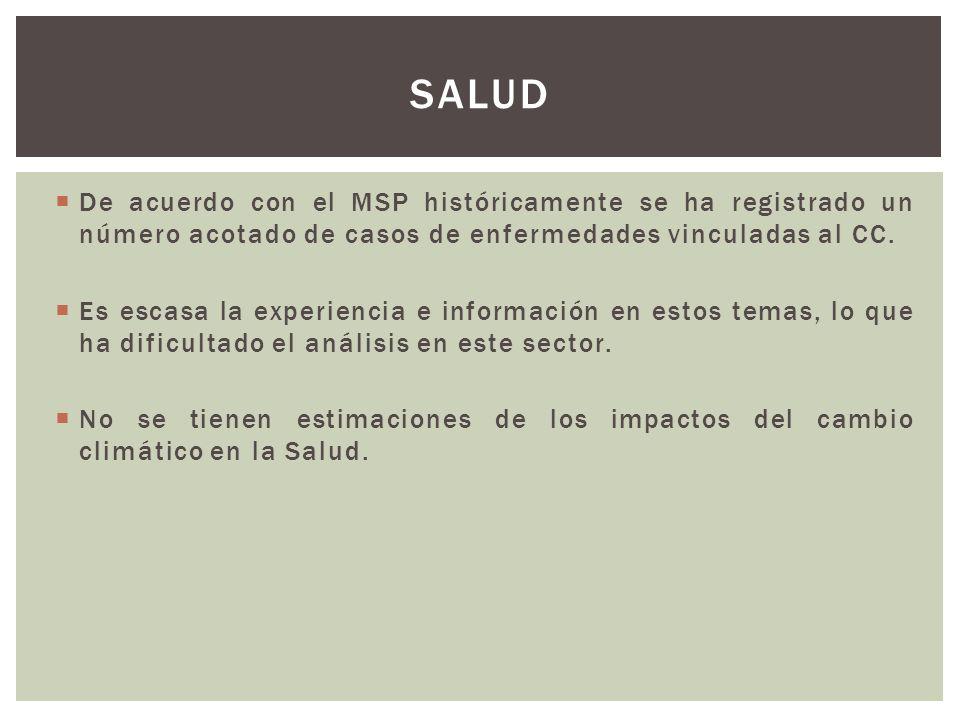 De acuerdo con el MSP históricamente se ha registrado un número acotado de casos de enfermedades vinculadas al CC. Es escasa la experiencia e informac