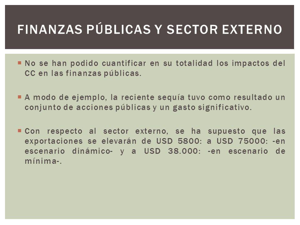 No se han podido cuantificar en su totalidad los impactos del CC en las finanzas públicas. A modo de ejemplo, la reciente sequía tuvo como resultado u