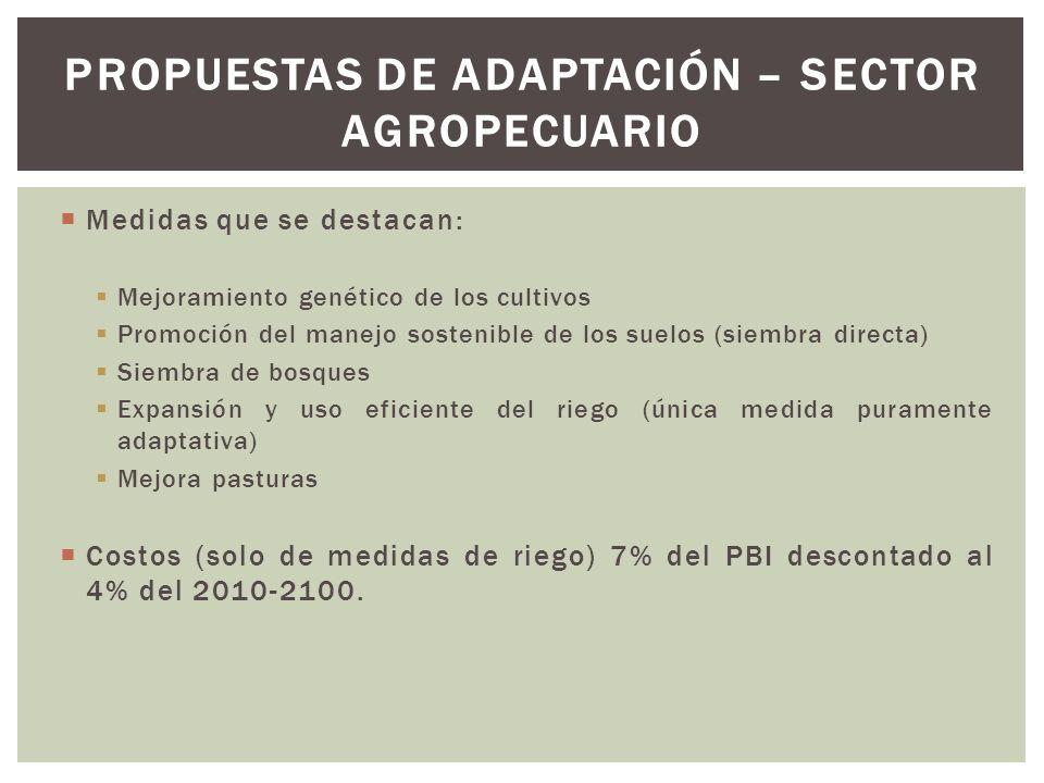 Medidas que se destacan: Mejoramiento genético de los cultivos Promoción del manejo sostenible de los suelos (siembra directa) Siembra de bosques Expa