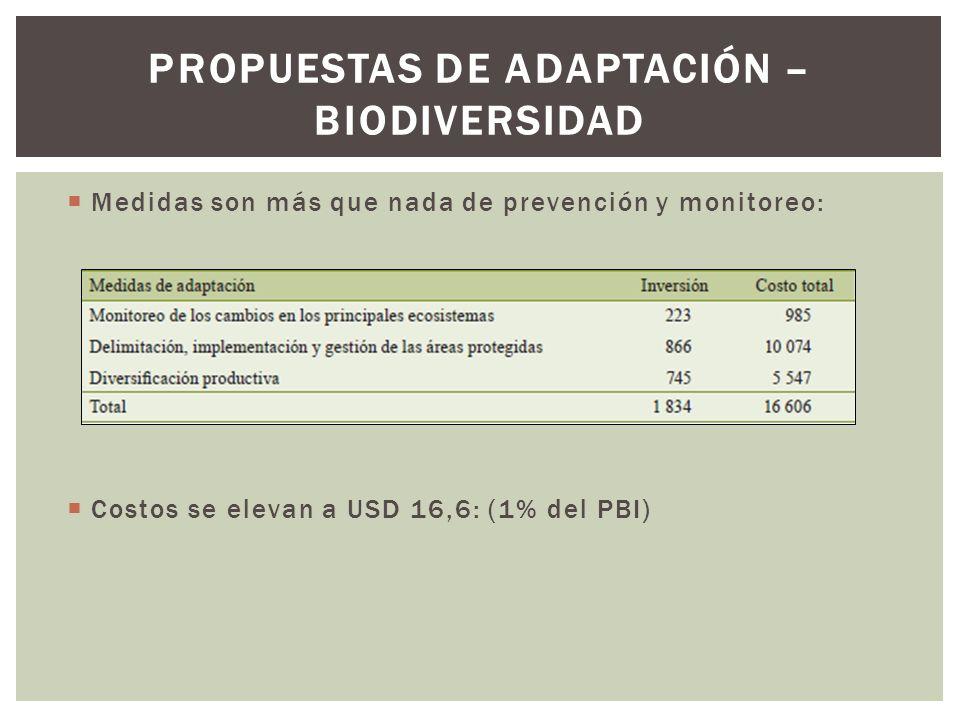 Medidas son más que nada de prevención y monitoreo: Costos se elevan a USD 16,6: (1% del PBI) PROPUESTAS DE ADAPTACIÓN – BIODIVERSIDAD