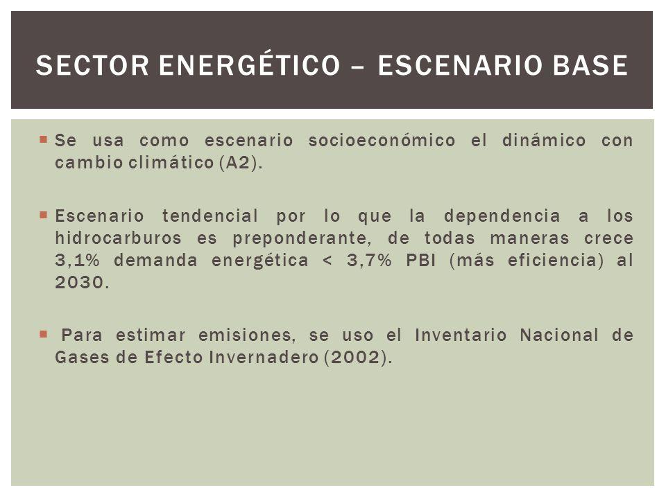 Se usa como escenario socioeconómico el dinámico con cambio climático (A2). Escenario tendencial por lo que la dependencia a los hidrocarburos es prep