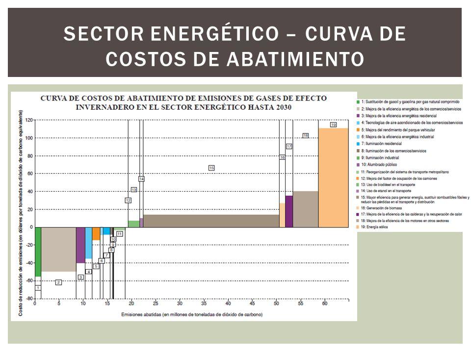 SECTOR ENERGÉTICO – CURVA DE COSTOS DE ABATIMIENTO