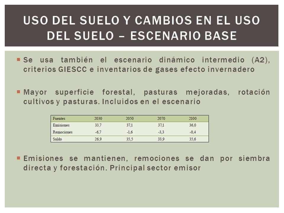 Se usa también el escenario dinámico intermedio (A2), criterios GIESCC e inventarios de gases efecto invernadero Mayor superficie forestal, pasturas m
