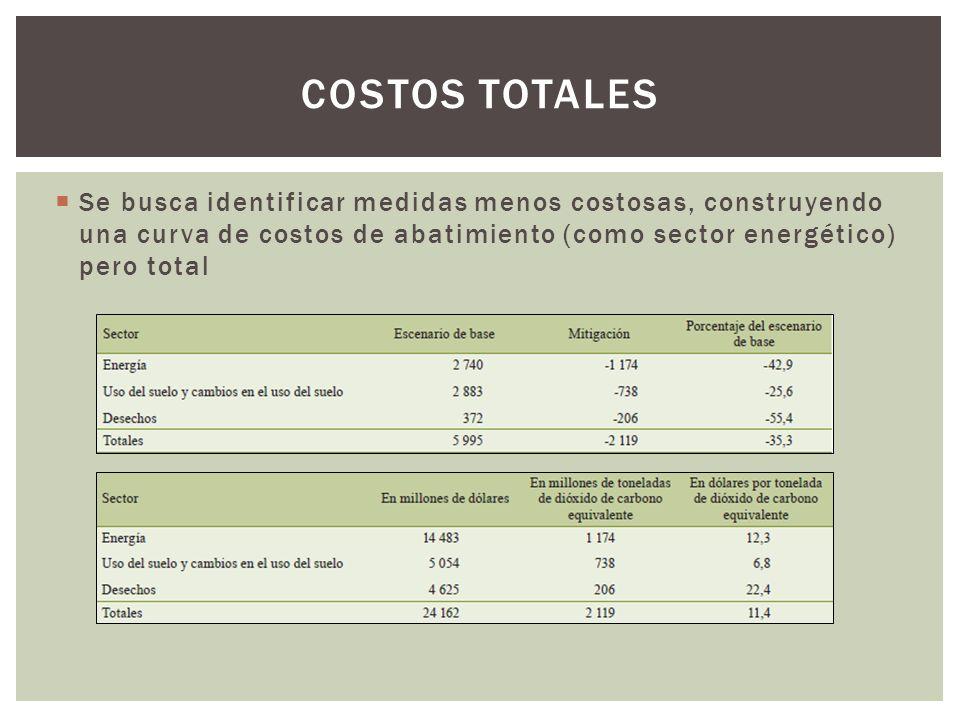 Se busca identificar medidas menos costosas, construyendo una curva de costos de abatimiento (como sector energético) pero total COSTOS TOTALES