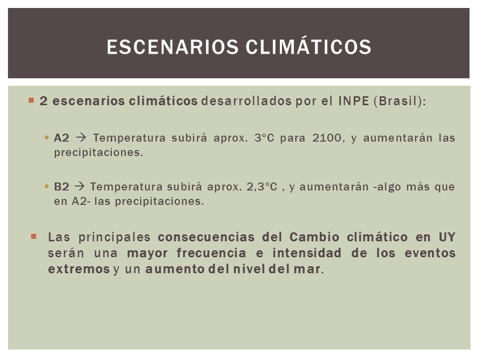 2 escenarios climáticos desarrollados por el INPE (Brasil): A2 Temperatura subirá aprox. 3ºC para 2100, y aumentarán las precipitaciones. B2 Temperatu