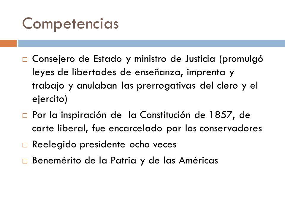 Competencias Consejero de Estado y ministro de Justicia (promulgó leyes de libertades de enseñanza, imprenta y trabajo y anulaban las prerrogativas de