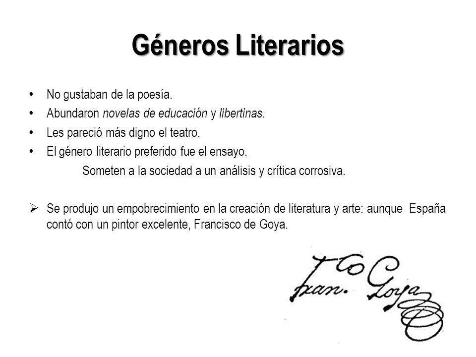Los Géneros literarios El ensayo: -Montesquieu (Cartas persas) -Los enciclopedistas: DAlembert Denis Diderot