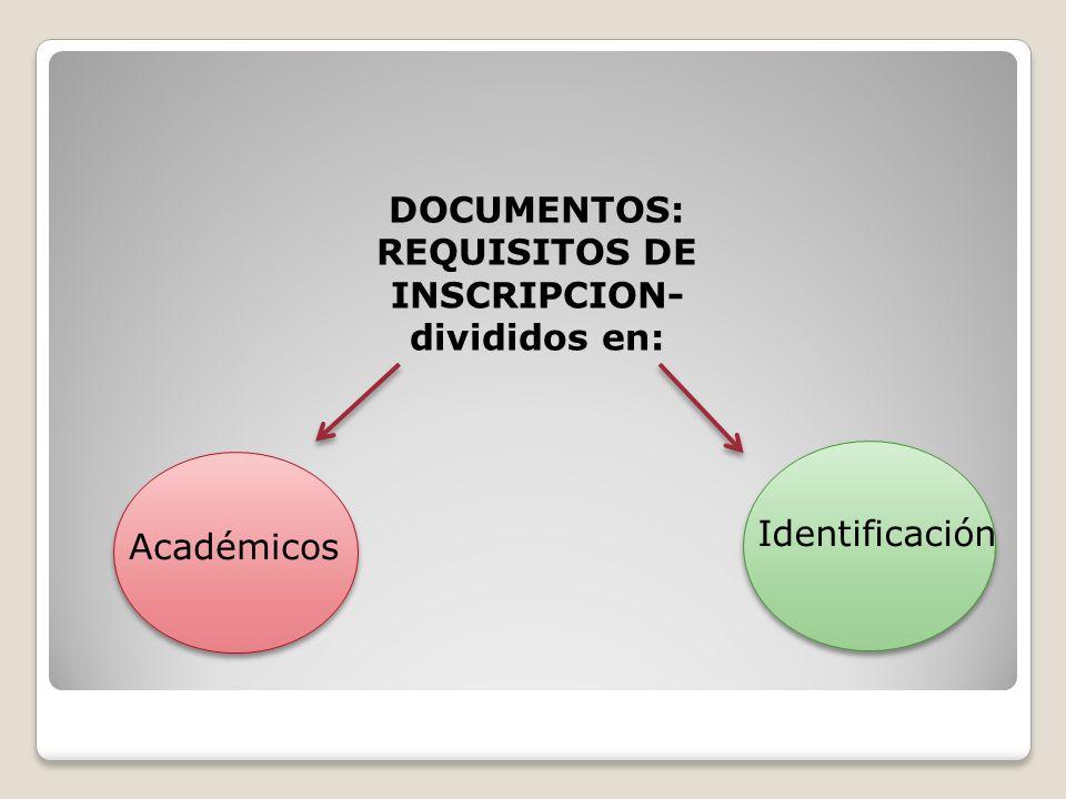 DOCUMENTOS: REQUISITOS DE INSCRIPCION- divididos en: Académicos Identificación