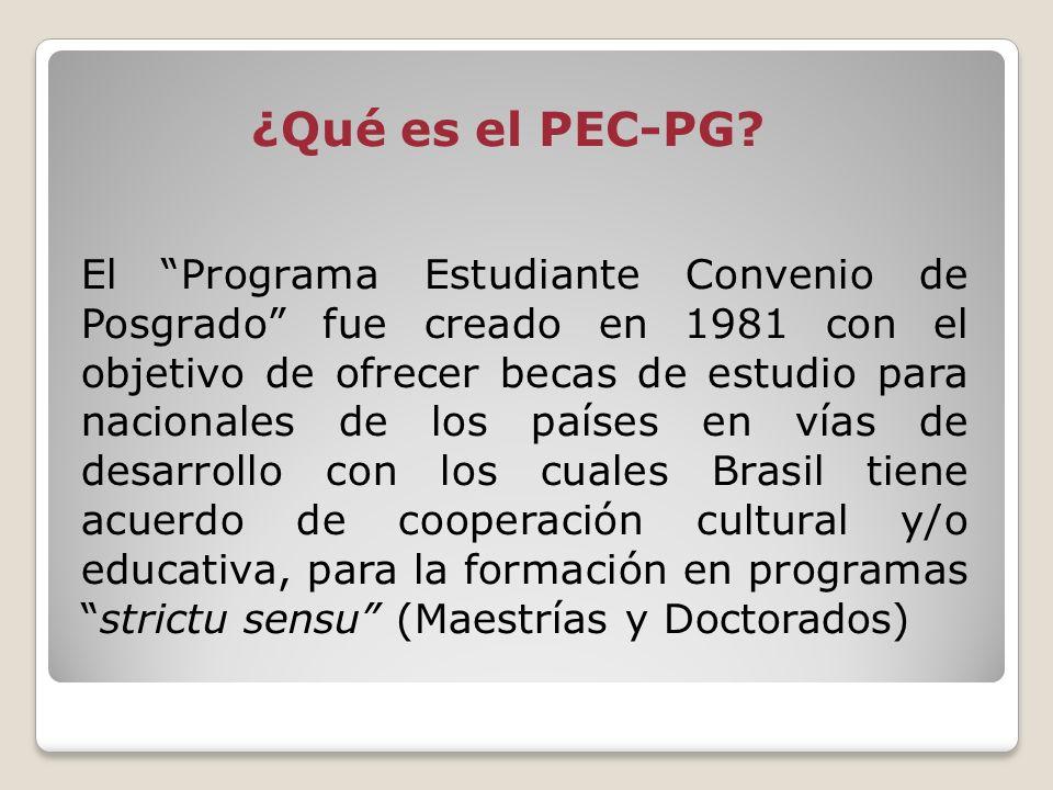 ¿Qué es el PEC-PG? El Programa Estudiante Convenio de Posgrado fue creado en 1981 con el objetivo de ofrecer becas de estudio para nacionales de los p