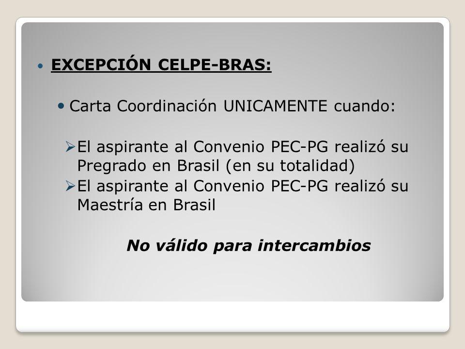 EXCEPCIÓN CELPE-BRAS: Carta Coordinación UNICAMENTE cuando: El aspirante al Convenio PEC-PG realizó su Pregrado en Brasil (en su totalidad) El aspiran