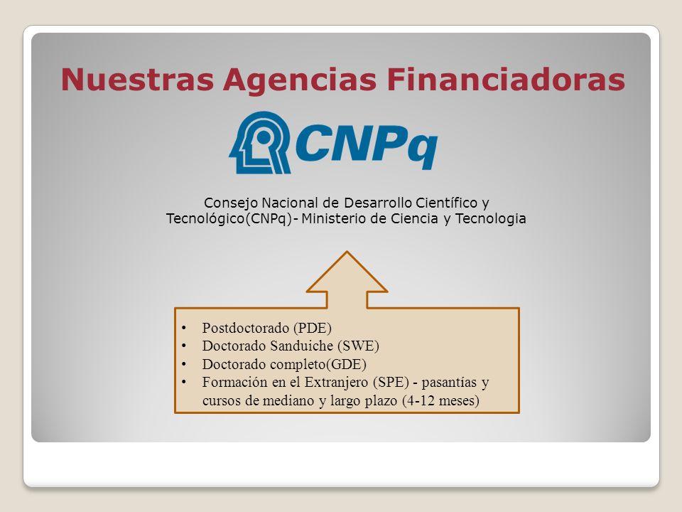 Nuestras Agencias Financiadoras Consejo Nacional de Desarrollo Científico y Tecnológico(CNPq)- Ministerio de Ciencia y Tecnologia Postdoctorado (PDE)