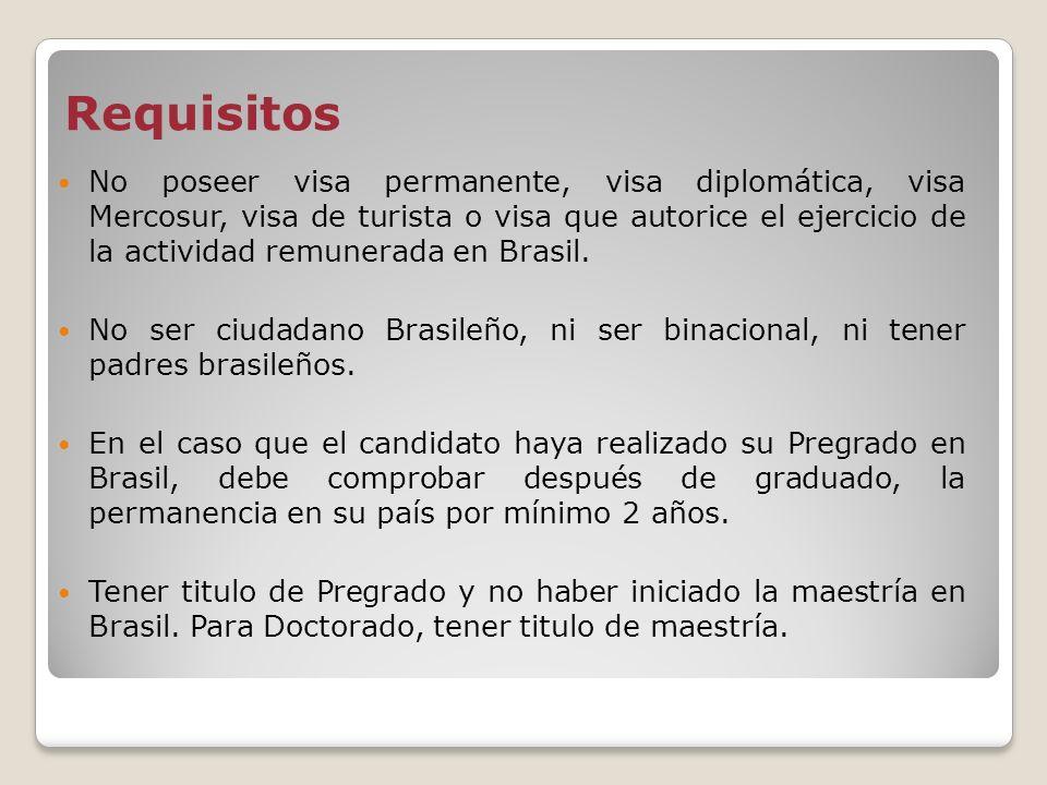 Requisitos No poseer visa permanente, visa diplomática, visa Mercosur, visa de turista o visa que autorice el ejercicio de la actividad remunerada en
