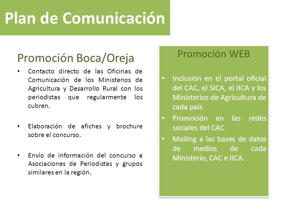 Plan de Comunicación Promoción Boca/Oreja Contacto directo de las Oficinas de Comunicación de los Ministerios de Agricultura y Desarrollo Rural con lo