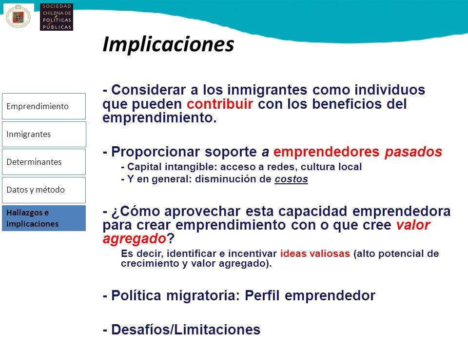 Implicaciones - Considerar a los inmigrantes como individuos que pueden contribuir con los beneficios del emprendimiento. - Proporcionar soporte a emp
