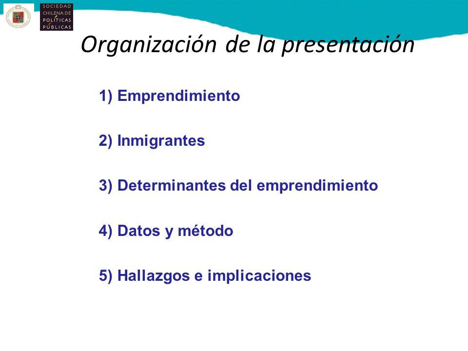 Organización de la presentación 1) Emprendimiento 2) Inmigrantes 3)Determinantes del emprendimiento 4)Datos y método 5)Hallazgos e implicaciones