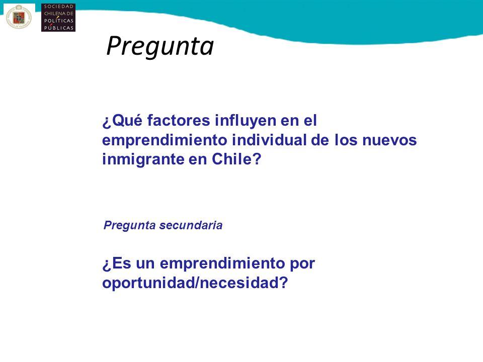 Pregunta ¿Qué factores influyen en el emprendimiento individual de los nuevos inmigrante en Chile? Pregunta secundaria ¿Es un emprendimiento por oport
