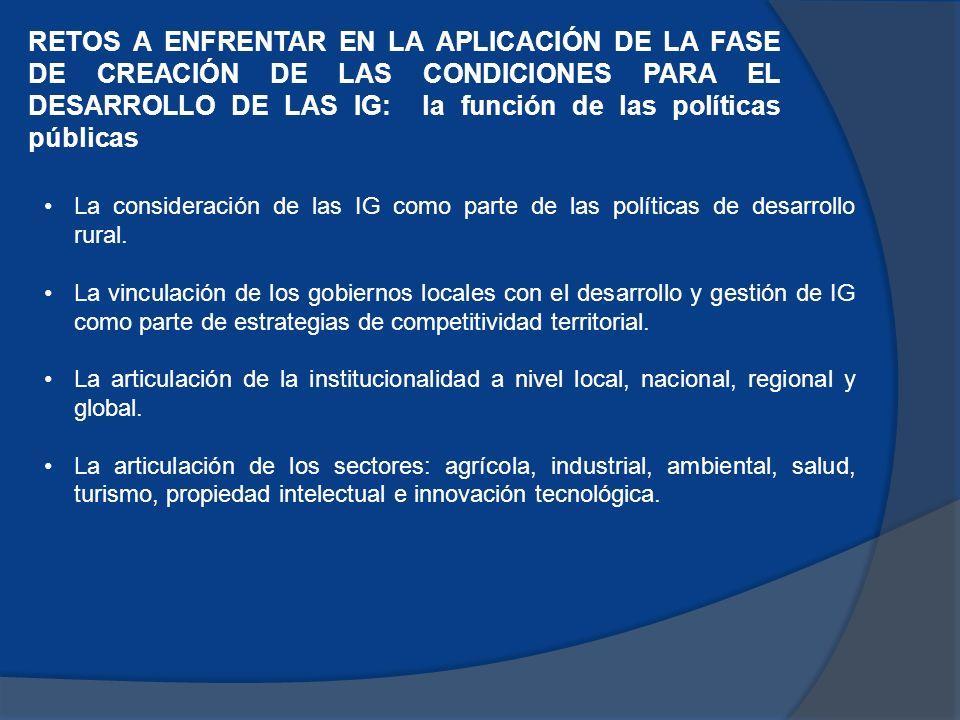 RETOS A ENFRENTAR EN LA APLICACIÓN DE LA FASE DE CREACIÓN DE LAS CONDICIONES PARA EL DESARROLLO DE LAS IG: la función de las políticas públicas La consideración de las IG como parte de las políticas de desarrollo rural.