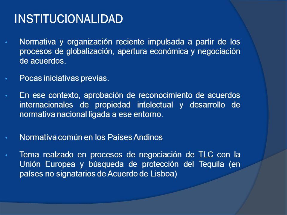 Normativa y organización reciente impulsada a partir de los procesos de globalización, apertura económica y negociación de acuerdos.