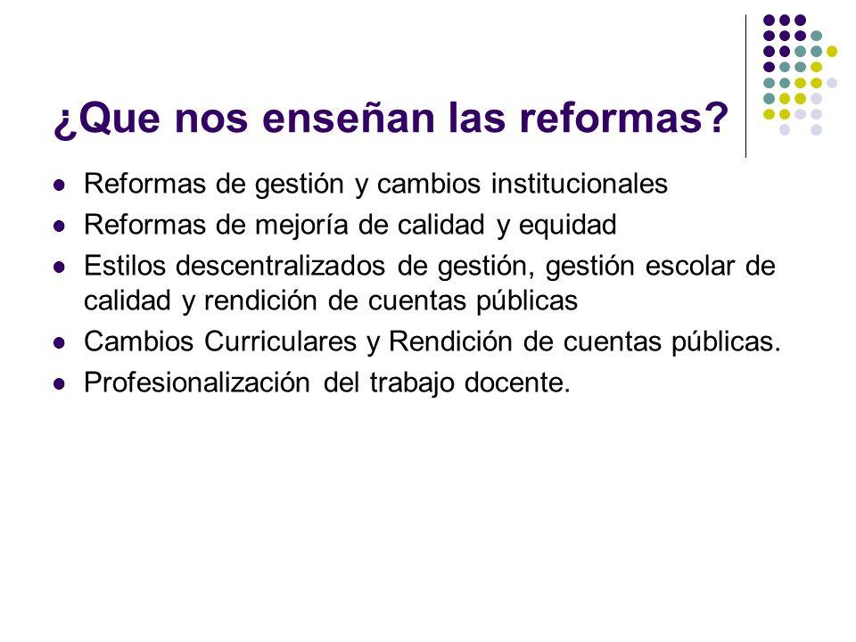 ¿Que nos enseñan las reformas? Reformas de gestión y cambios institucionales Reformas de mejoría de calidad y equidad Estilos descentralizados de gest