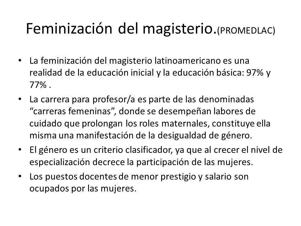 Feminización del magisterio. (PROMEDLAC) La feminización del magisterio latinoamericano es una realidad de la educación inicial y la educación básica: