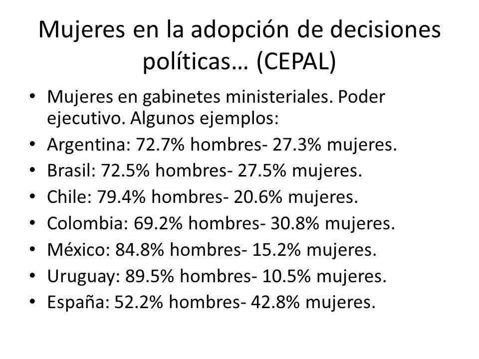 Mujeres en la adopción de decisiones políticas… (CEPAL) Mujeres en gabinetes ministeriales. Poder ejecutivo. Algunos ejemplos: Argentina: 72.7% hombre
