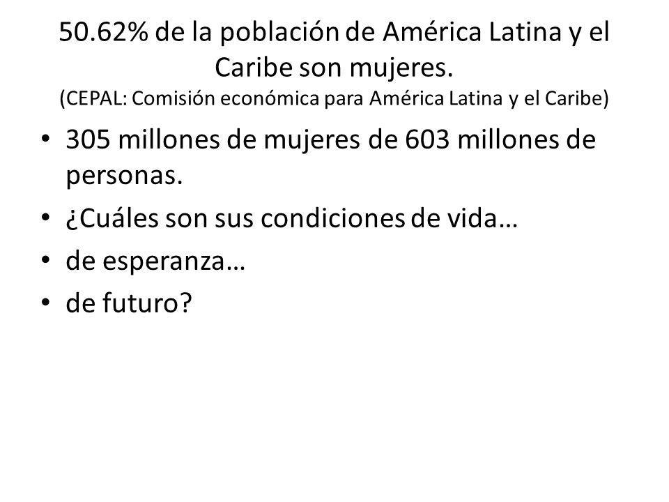 50.62% de la población de América Latina y el Caribe son mujeres. (CEPAL: Comisión económica para América Latina y el Caribe) 305 millones de mujeres