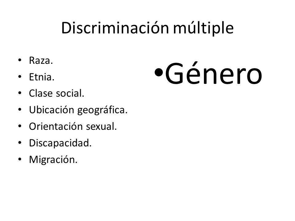 Discriminación múltiple Raza. Etnia. Clase social. Ubicación geográfica. Orientación sexual. Discapacidad. Migración. Género