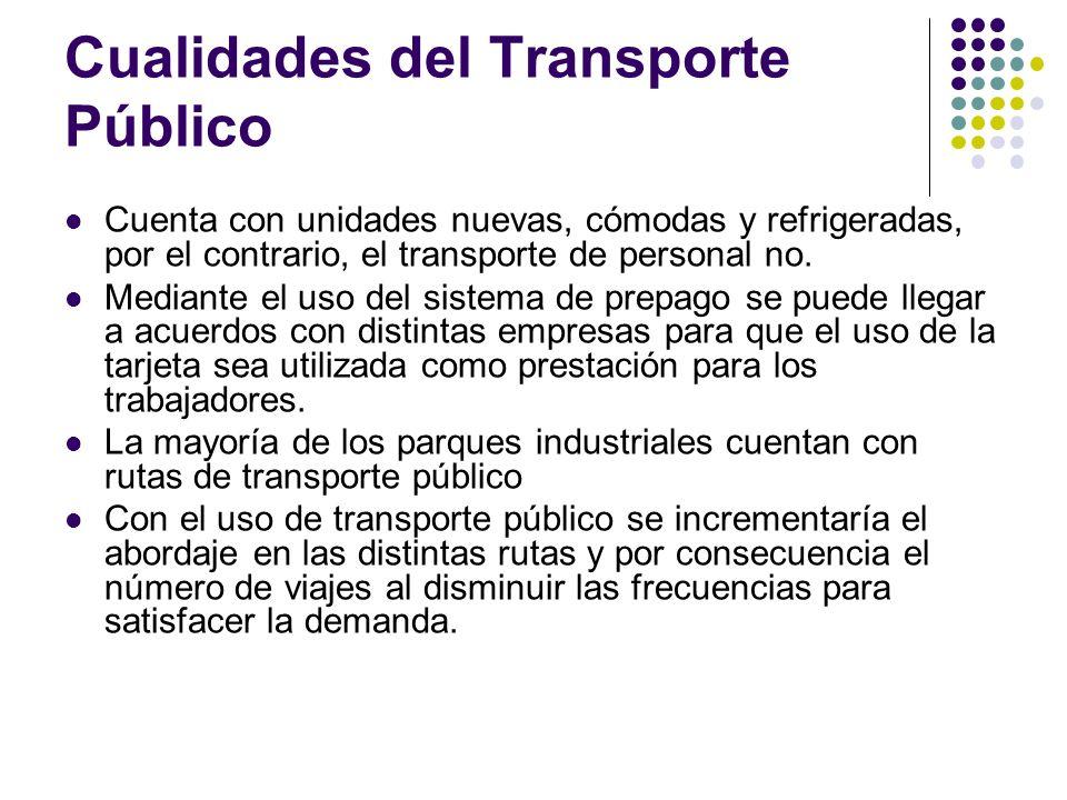 Cualidades del Transporte Público Cuenta con unidades nuevas, cómodas y refrigeradas, por el contrario, el transporte de personal no. Mediante el uso