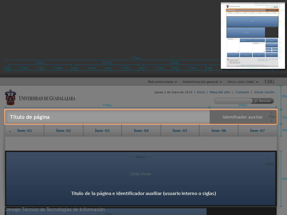Titulo de la página e identificador auxiliar (usuario interno o siglas) Consejo Técnico de Tecnologías de Información