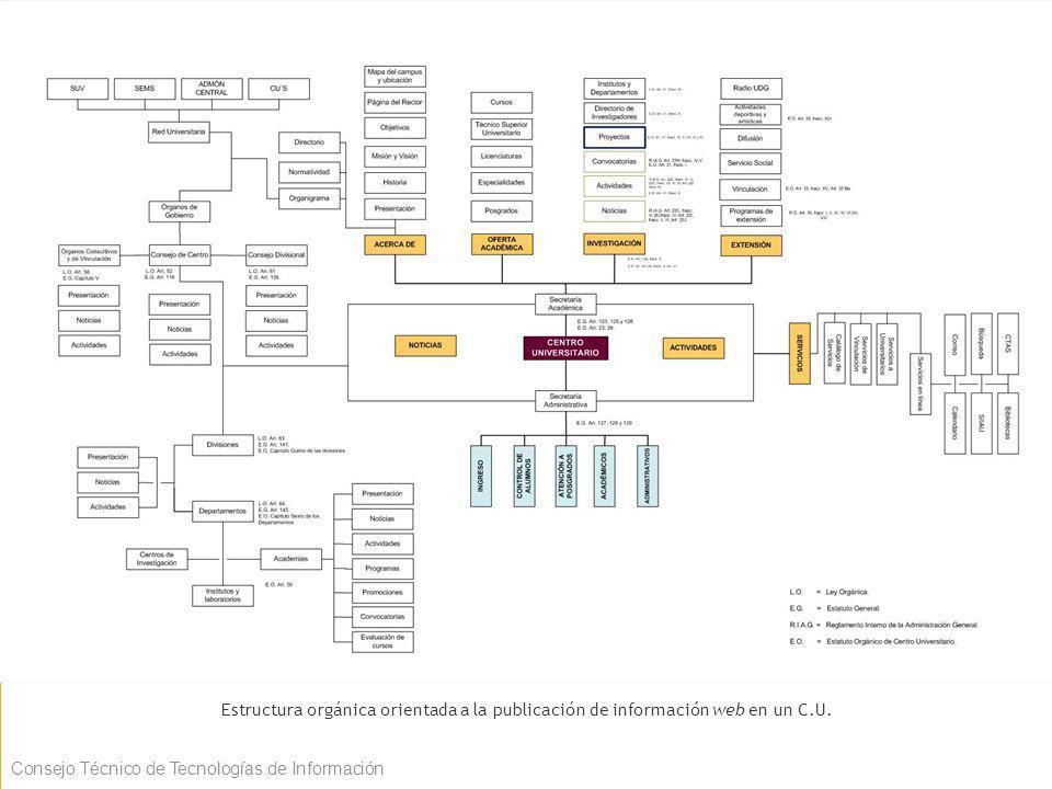 Estructura orgánica orientada a la publicación de información web en un C.U.