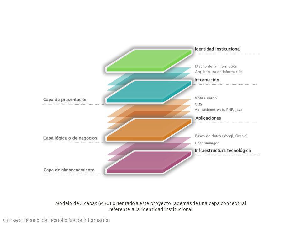 Modelo de 3 capas (M3C) orientado a este proyecto, además de una capa conceptual referente a la identidad institucional Consejo Técnico de Tecnologías de Información