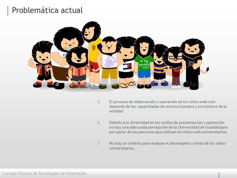 Problemática actual 5.El proceso de elaboración y operación de los sitios web solo depende de las capacidades de recurso humano y económico de la entidad 6.Debido a la diversidad en los estilos de presentación y operación no hay una adecuada percepción de la Universidad de Guadalajara por parte de las personas que utilizan los sitios web universitarios.