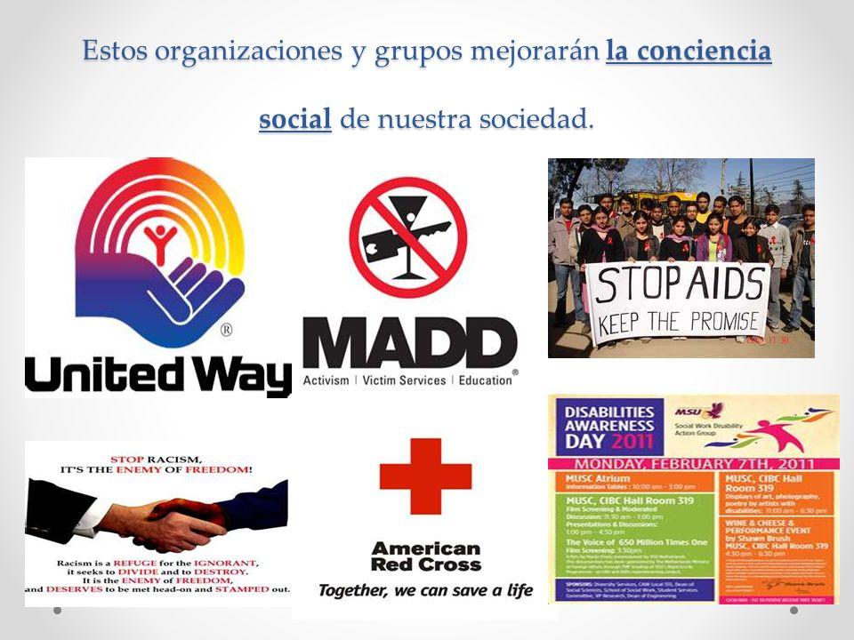 Estos organizaciones y grupos mejorarán la conciencia social de nuestra sociedad.