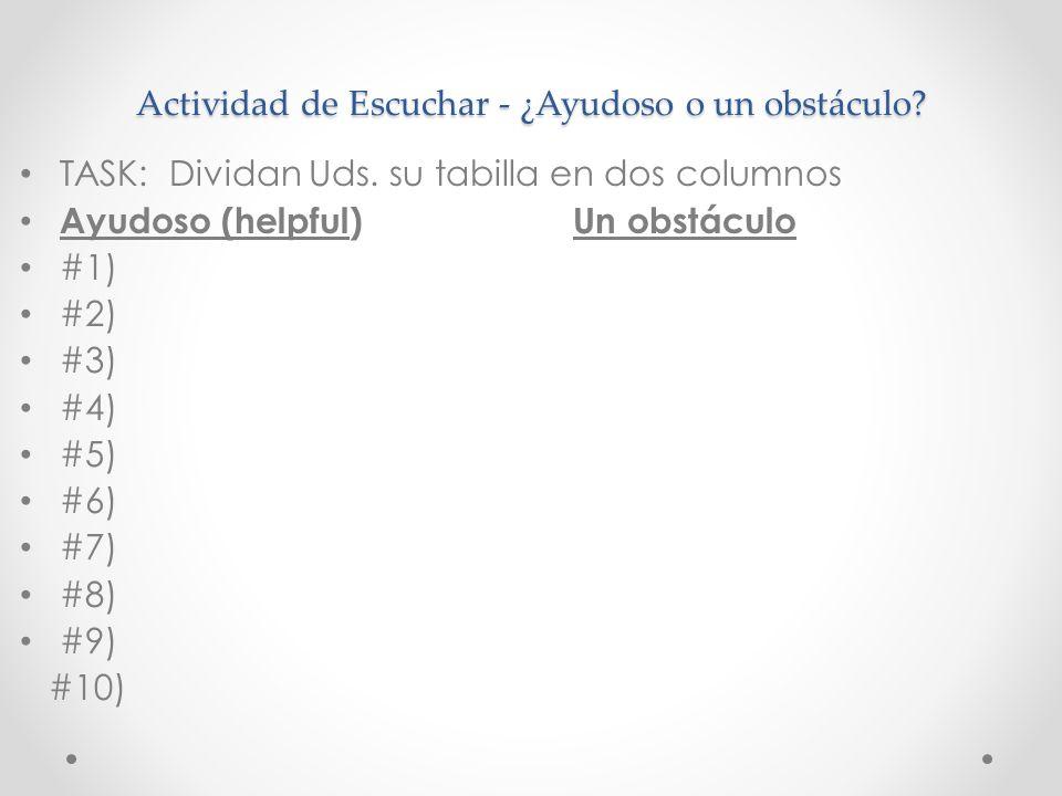 Actividad de Escuchar - ¿Ayudoso o un obstáculo? TASK: Dividan Uds. su tabilla en dos columnos Ayudoso (helpful) Un obstáculo #1) #2) #3) #4) #5) #6)