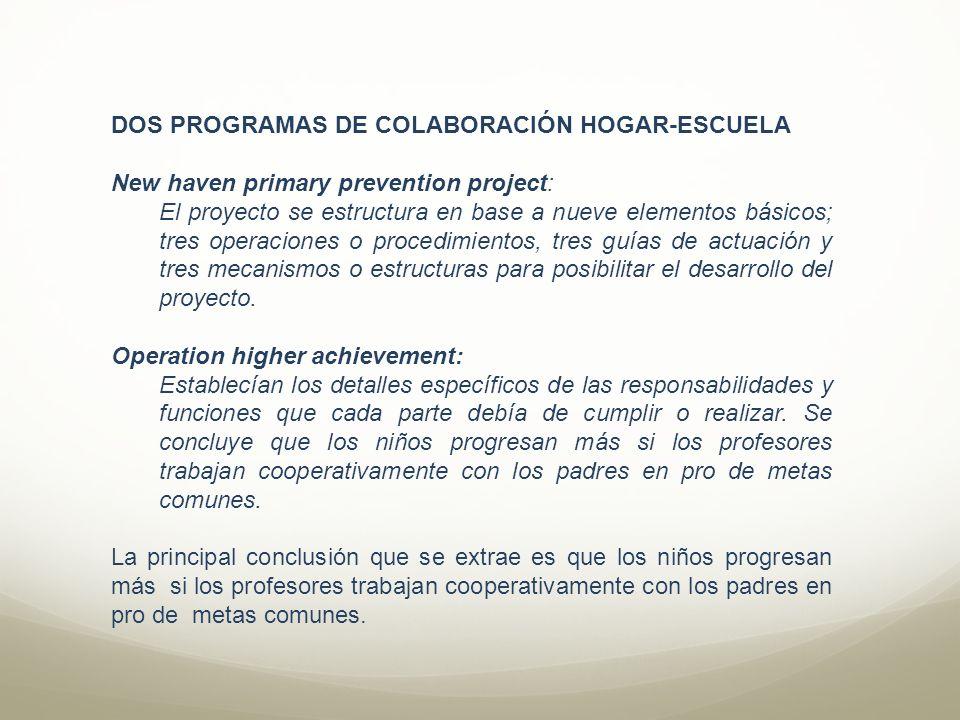 DOS PROGRAMAS DE COLABORACIÓN HOGAR-ESCUELA New haven primary prevention project: El proyecto se estructura en base a nueve elementos básicos; tres op