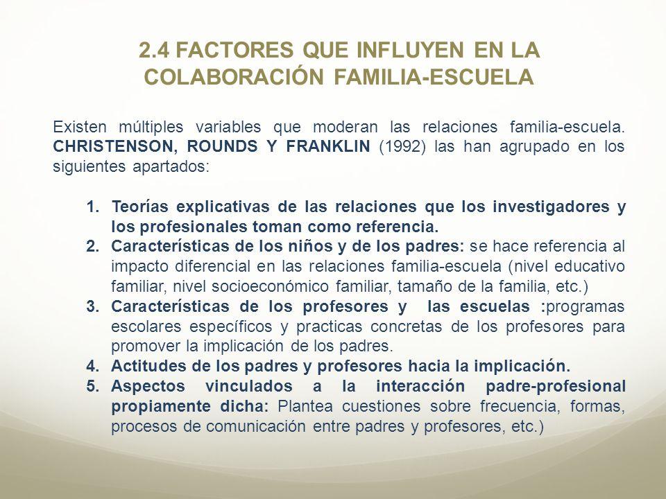 2.4 FACTORES QUE INFLUYEN EN LA COLABORACIÓN FAMILIA-ESCUELA Existen múltiples variables que moderan las relaciones familia-escuela. CHRISTENSON, ROUN