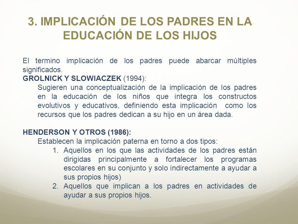 3. IMPLICACIÓN DE LOS PADRES EN LA EDUCACIÓN DE LOS HIJOS El termino implicación de los padres puede abarcar múltiples significados. GROLNICK Y SLOWIA
