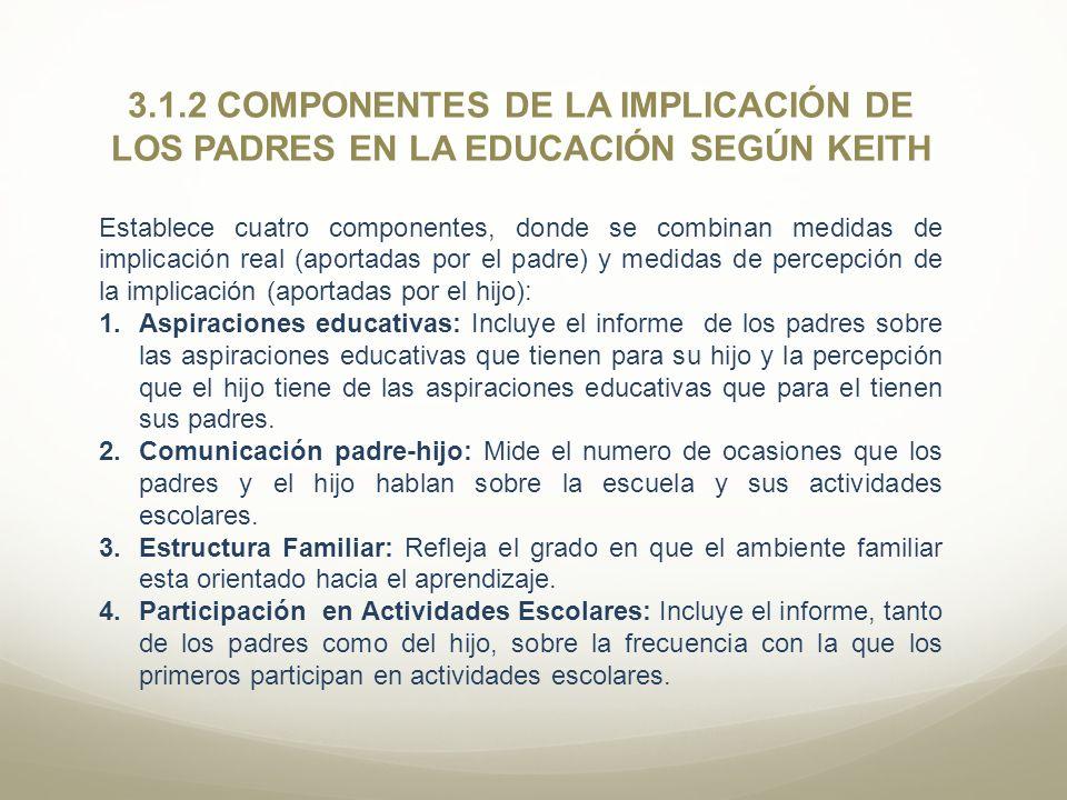 3.1.2 COMPONENTES DE LA IMPLICACIÓN DE LOS PADRES EN LA EDUCACIÓN SEGÚN KEITH Establece cuatro componentes, donde se combinan medidas de implicación r