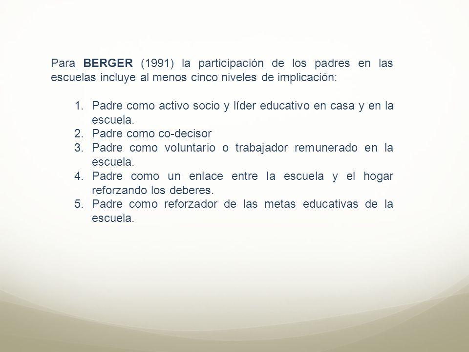 Para BERGER (1991) la participación de los padres en las escuelas incluye al menos cinco niveles de implicación: 1.Padre como activo socio y líder edu