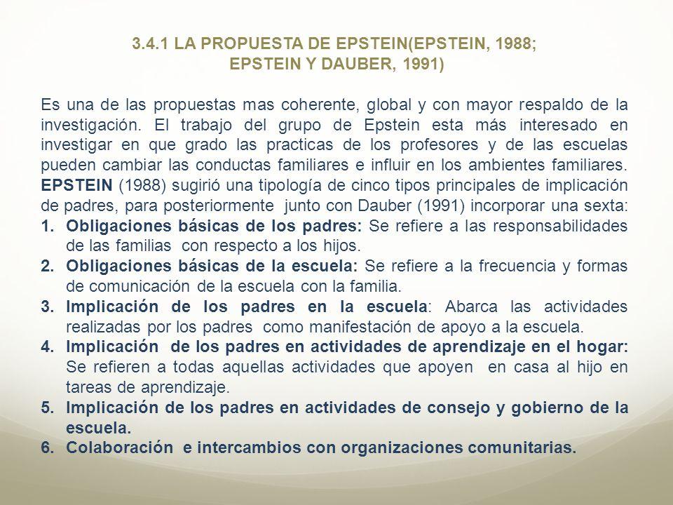 3.4.1 LA PROPUESTA DE EPSTEIN(EPSTEIN, 1988; EPSTEIN Y DAUBER, 1991) Es una de las propuestas mas coherente, global y con mayor respaldo de la investi