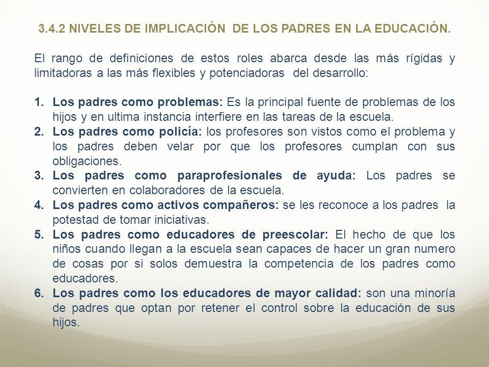 3.4.2 NIVELES DE IMPLICACIÓN DE LOS PADRES EN LA EDUCACIÓN. El rango de definiciones de estos roles abarca desde las más rígidas y limitadoras a las m