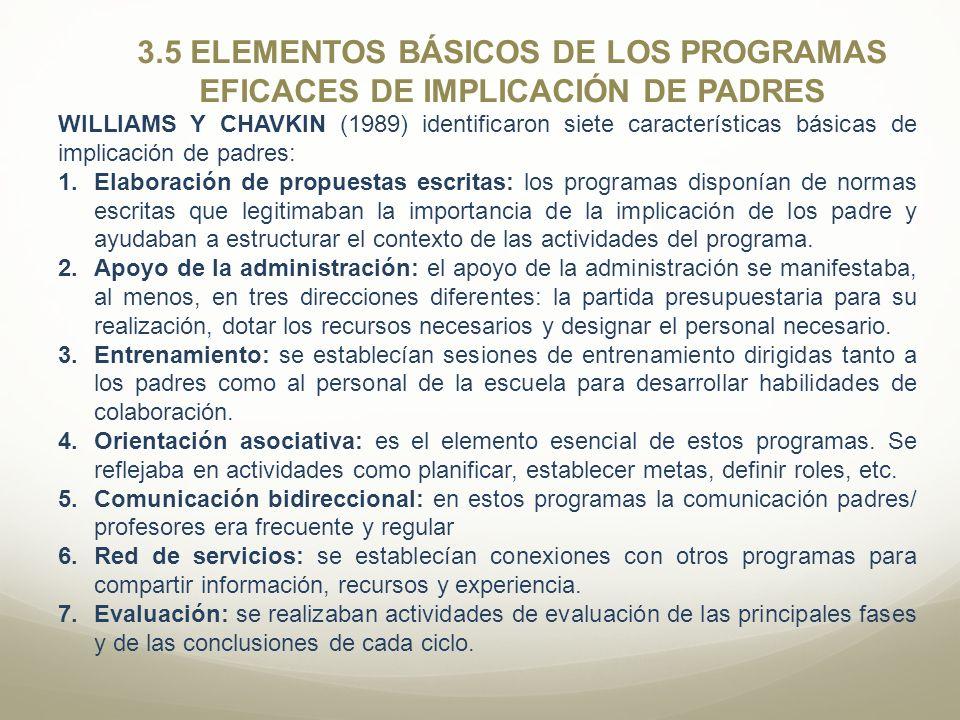 3.5 ELEMENTOS BÁSICOS DE LOS PROGRAMAS EFICACES DE IMPLICACIÓN DE PADRES WILLIAMS Y CHAVKIN (1989) identificaron siete características básicas de impl