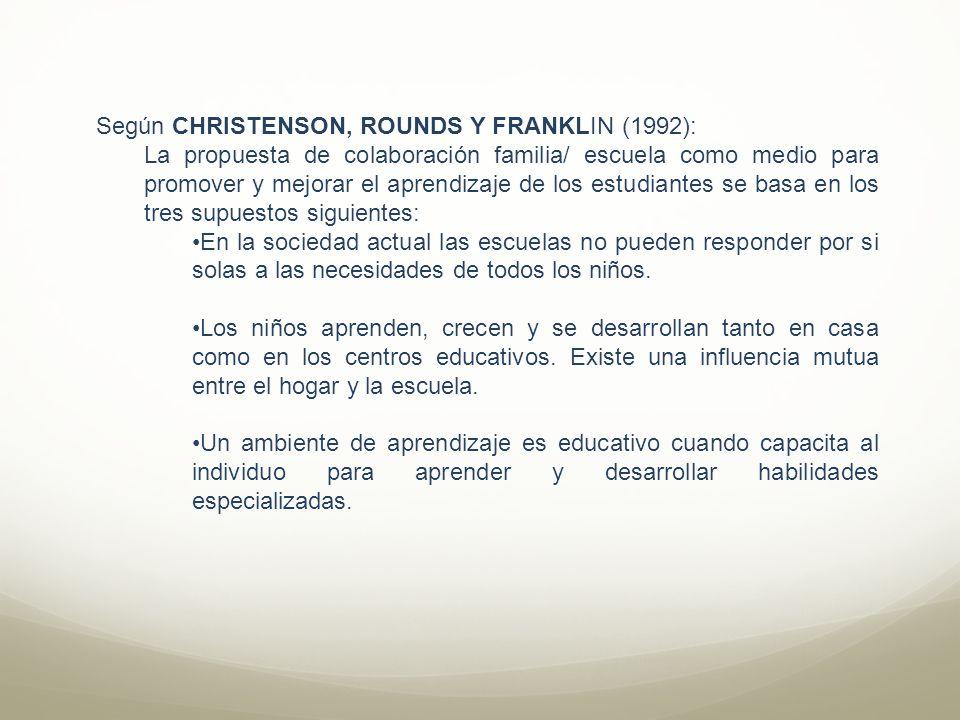 Según CHRISTENSON, ROUNDS Y FRANKLIN (1992): La propuesta de colaboración familia/ escuela como medio para promover y mejorar el aprendizaje de los es