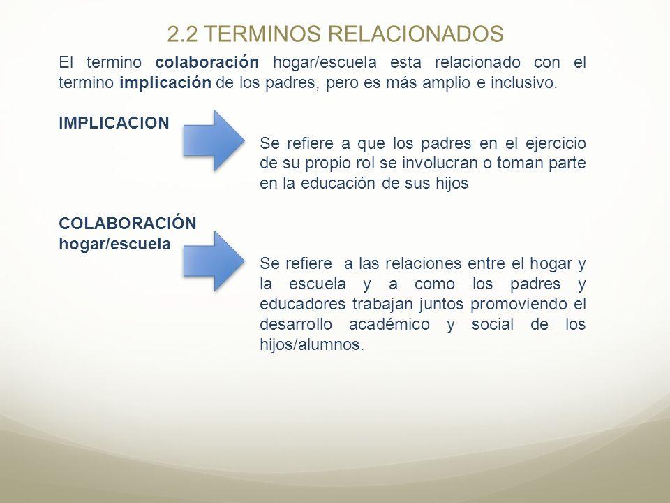 2.2 TERMINOS RELACIONADOS El termino colaboración hogar/escuela esta relacionado con el termino implicación de los padres, pero es más amplio e inclus