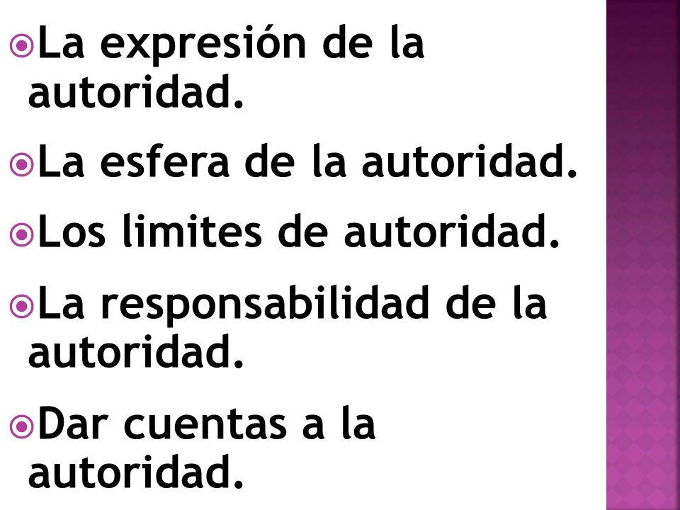 La expresión de la autoridad.La esfera de la autoridad.