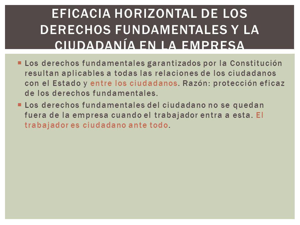 Los derechos fundamentales garantizados por la Constitución resultan aplicables a todas las relaciones de los ciudadanos con el Estado y entre los ciu