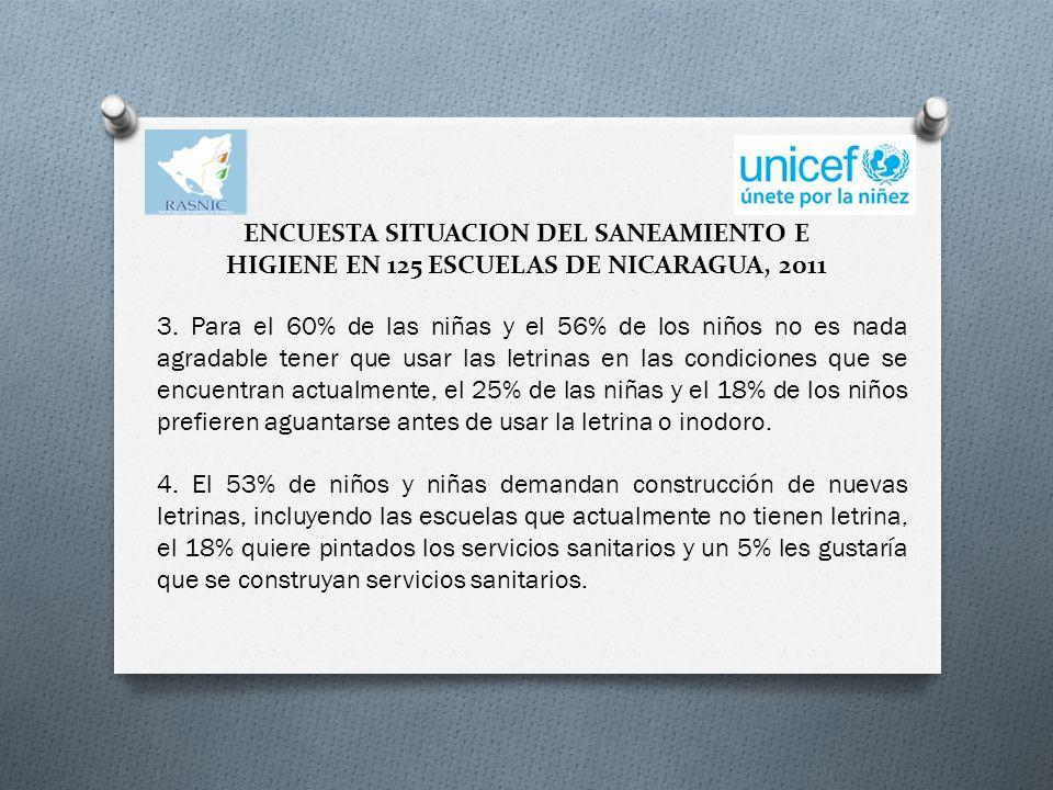 ENCUESTA SITUACION DEL SANEAMIENTO E HIGIENE EN 125 ESCUELAS DE NICARAGUA, 2011 3.