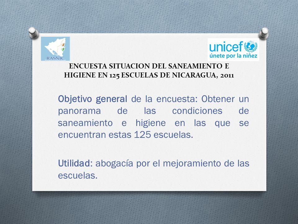 ENCUESTA SITUACION DEL SANEAMIENTO E HIGIENE EN 125 ESCUELAS DE NICARAGUA, 2011 Objetivo general de la encuesta: Obtener un panorama de las condiciones de saneamiento e higiene en las que se encuentran estas 125 escuelas.